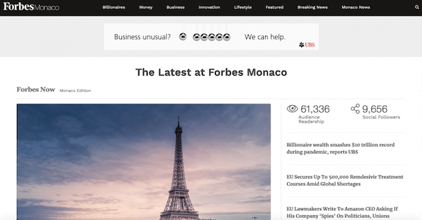Forbes Monaco about Rublev Lombard